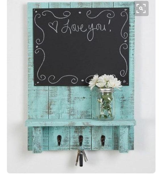 Vintage Rustic Wooden Chalkboard Memo Message Board Blackboard+key//lette holder