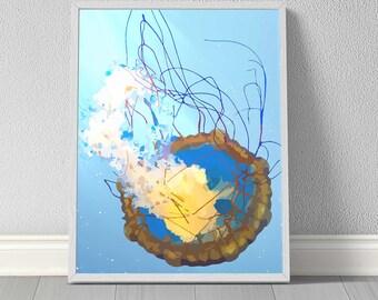 Jellyfish Digital Printable ART PRINT, Graphic Illustration, Ocean Art, Coastal Art, Wildlife Art, Wall Art, Nursery Art, Home Decor