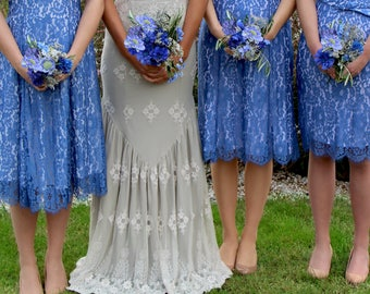 Bespoke Vintage Style Lace Bridesmaids Dresses In Cornflower Blue Lace