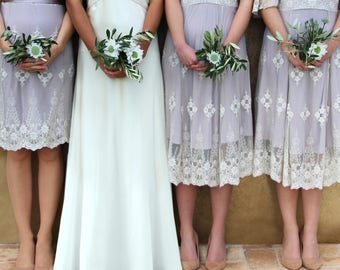 248658f6d08 Bespoke Vintage Style Lace Bridesmaids Dresses In Ivory And Blush