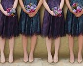 Bespoke Vintage Style Bridesmaid Dresses In Midnight and current Lace With a Contrast Lining