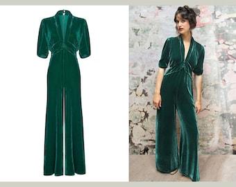Vintage Style Silk Velvet Jumpsuit in Peacock