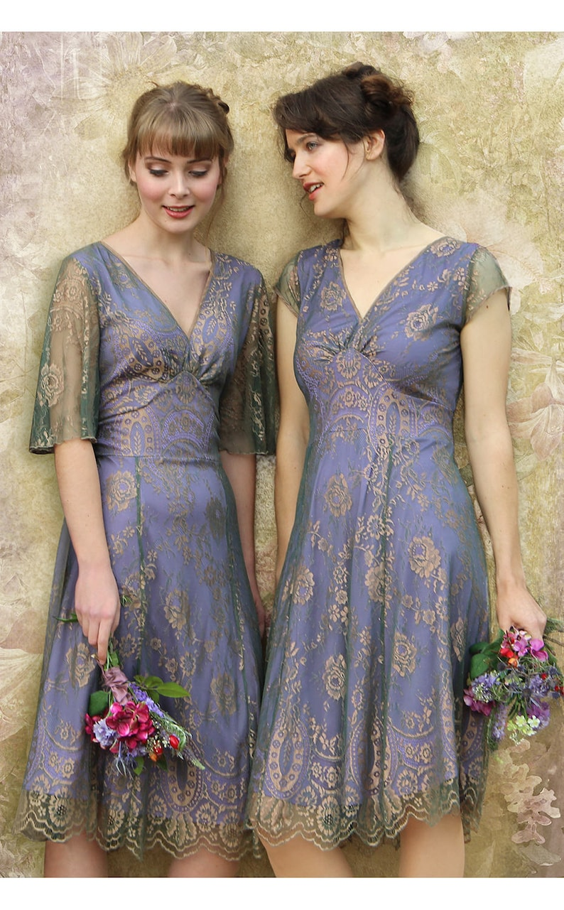 05df1ab19e7 Bespoke Vintage Style Bridesmaid Dresses in Bronze and Sugar