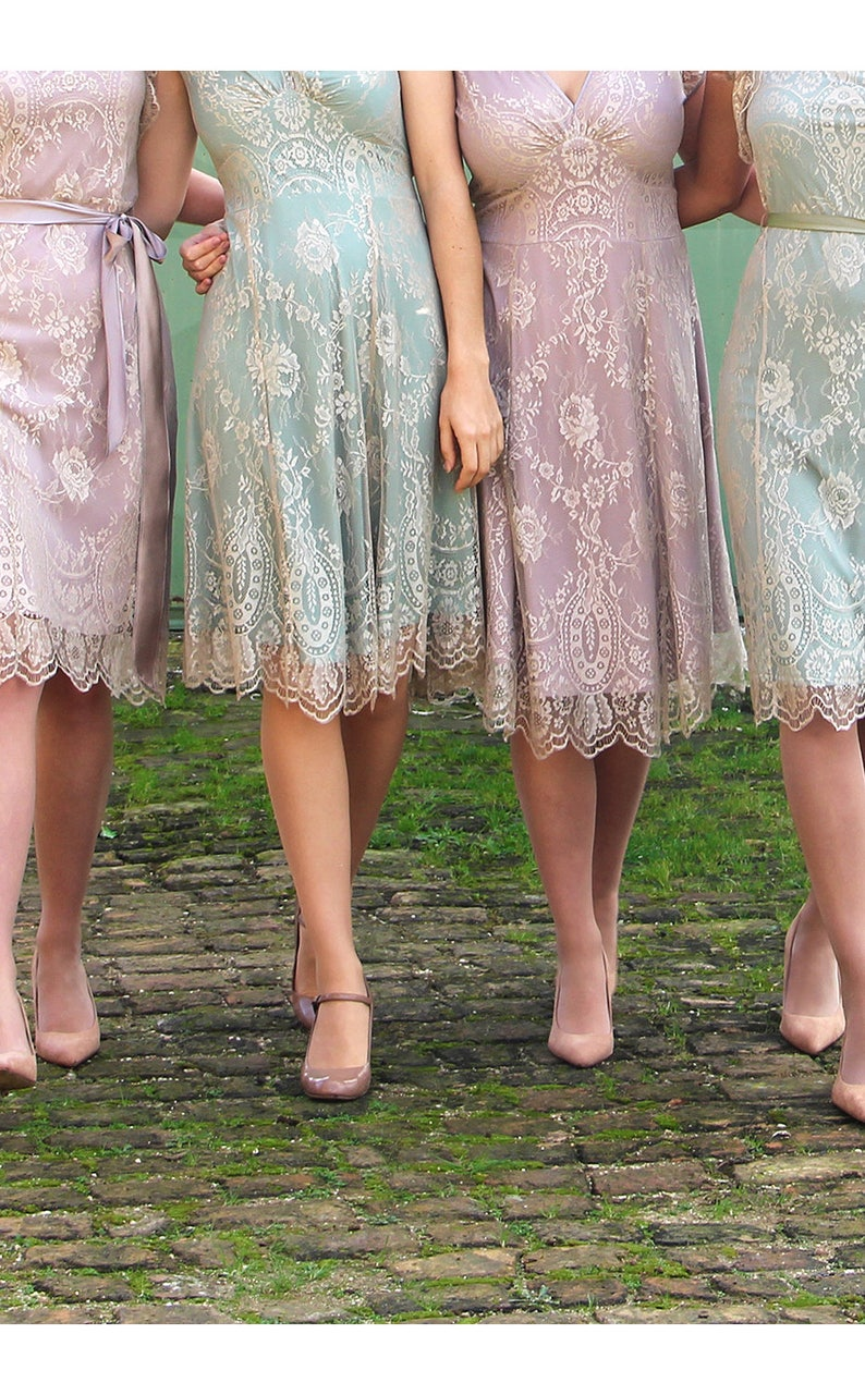 8b83eda377c Bespoke Vintage Style Lace Bridesmaids Dresses In Platinum and