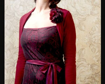 Shrug coverup in red,black,purple,chocolate,blue,pink,ivory,reef or soft green wool.
