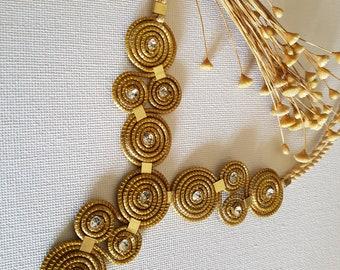Gold necklace spiral and strass/golden grass necklace/Herb Dorada/Organic/CAPIM Dourado/Ethnic/Boho Chic