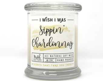 Wine Lover, Soy Wax Candle, Wine Tasting Party, Hostess Gift, Chardonnay Scented, Bridal Gift, Bachelorette Party Favors, Handmade Candle