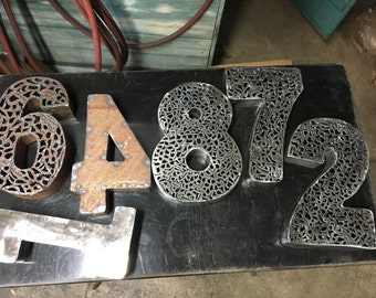 3D Steel House Numbers Polished, Rusted  Plasma cutter Lacework Wall art, Housewarming gift House warming