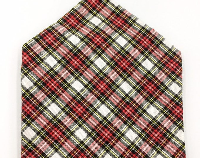 Royal Dress Stewart tartan pocket square, tartan pocket square, white and black tartan hankerchief.