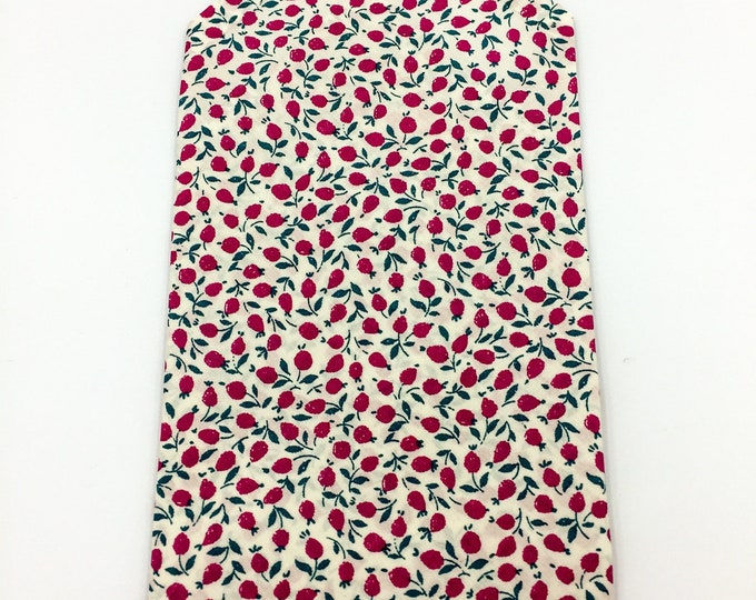 Floral flower bud pocket square, Liberty cotton white and pink floral pocket square.