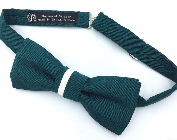 Dark green moire taffeta bow tie, green and ivory silk bow tie.