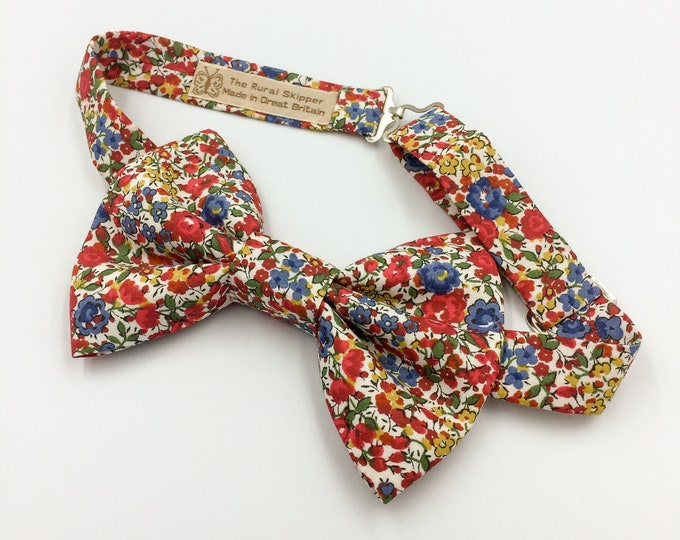 Red and blue floral bow tie, Liberty cotton floral print bow tie, floral cotton bow tie.
