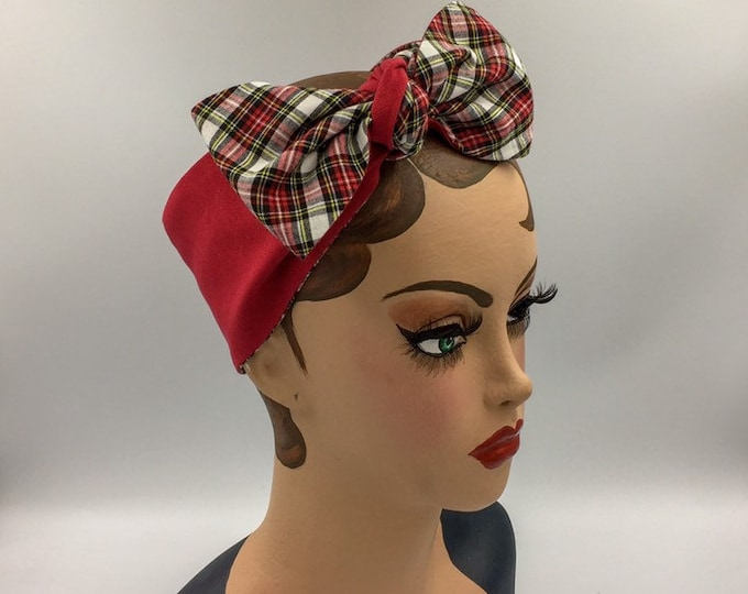 Tartan bandana, Royal Dress Stewart tartan banana, white and black tartan headband.