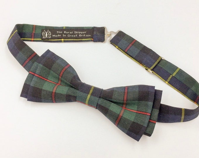 MacLeod Tartan bow tie, tartan bow tie, green and black plaid bow tie.