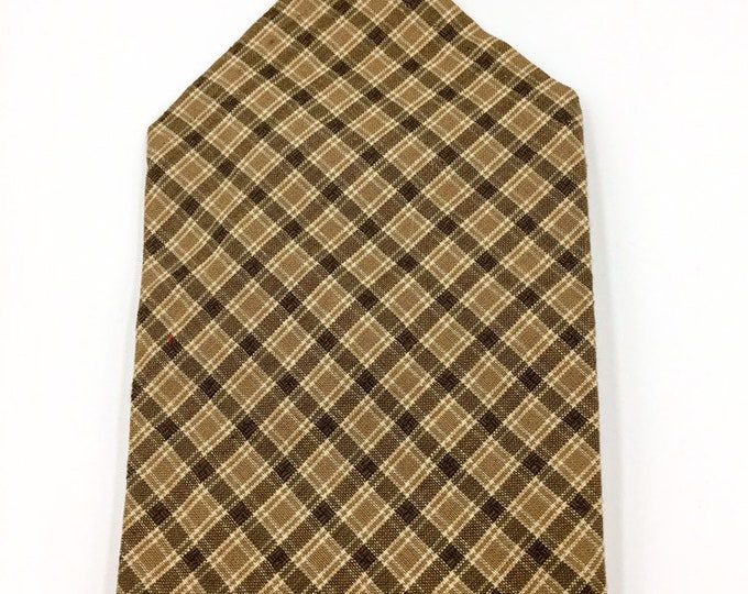 Brown plaid cotton pocket square, brown and beige checked hankerchief.