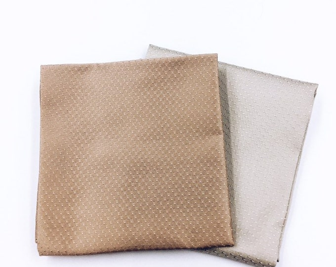 Silk acetate embossed pocket square, oyster silk pocket square, grey silk pocket square.