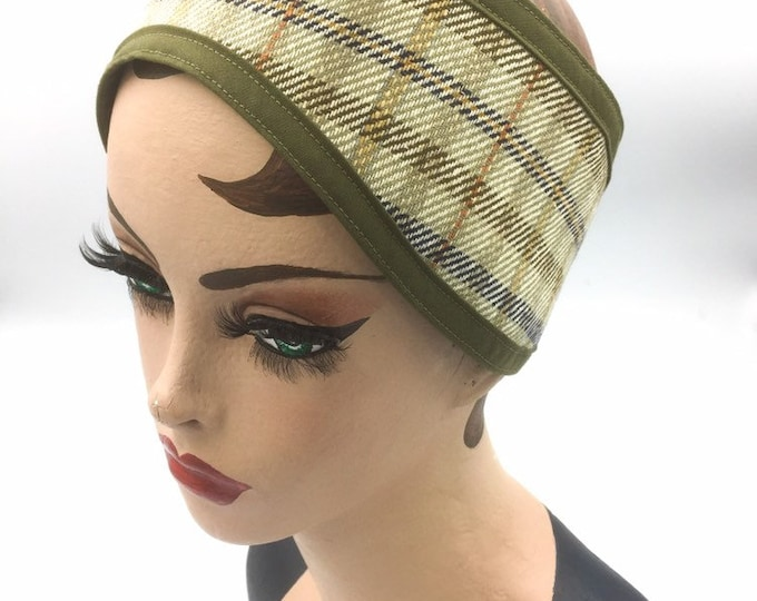 Plaid Ear Warmer and Head Band, Country Plaid and Faux Suede Ear Warmer.