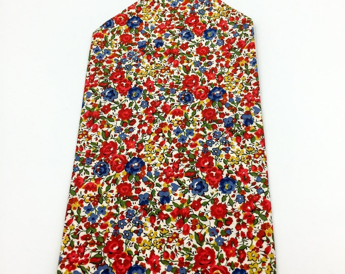 Floral print pocket square, Liberty cotton pocket square, red and blue floral pocket square.