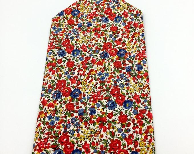 Floral print pocket square, Liberty cotton pocket square, red and blue floral pocket square.