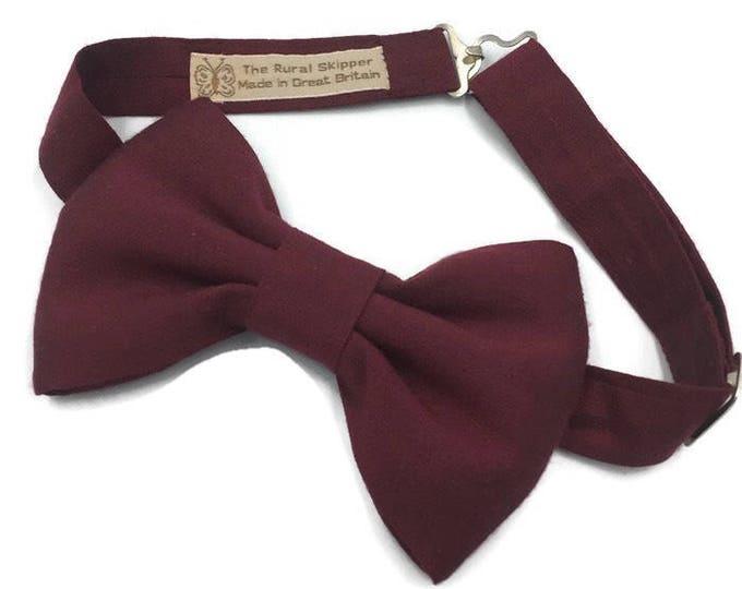 Burgundy bow tie, silk bow tie.