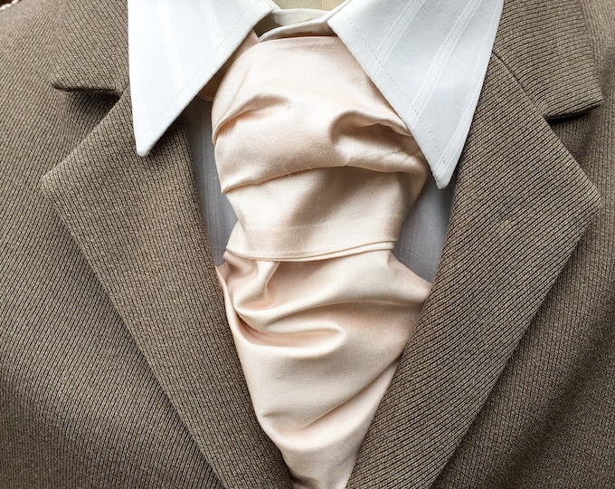 Silk Cravat, silk wedding cravat, pastel peach silk cravat.