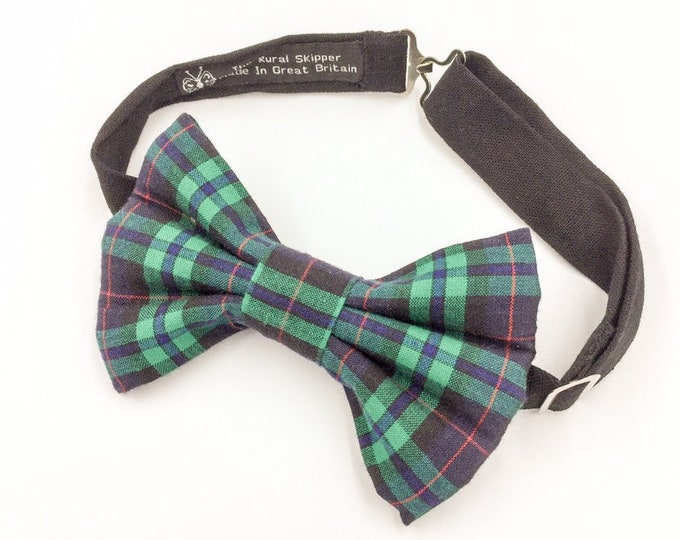 Armstrong tartan bow tie, tartan bow tie, green and black bow tie.