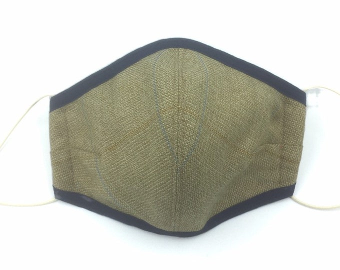 Tweed wool and silk face mask, country tweed face mask, three-layered face covering.