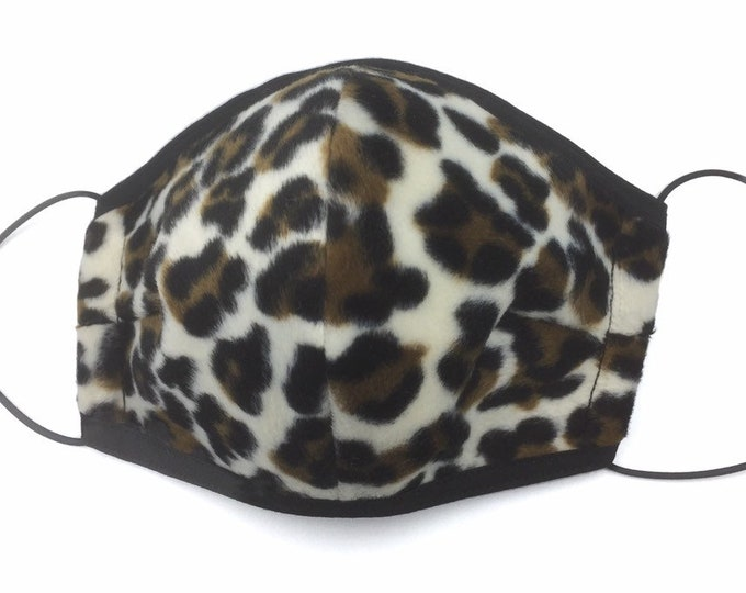 White Leopard Print Faux Fur Face Mask, Animal Print Fur Face Shield. Leopard Face Mask.