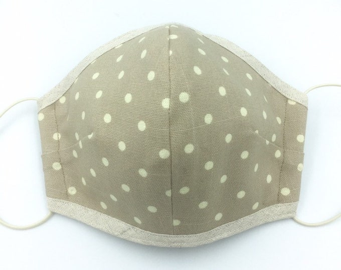 Spotted cotton three-layered hand-made face mask, adjustable face mask, fitted face mask.