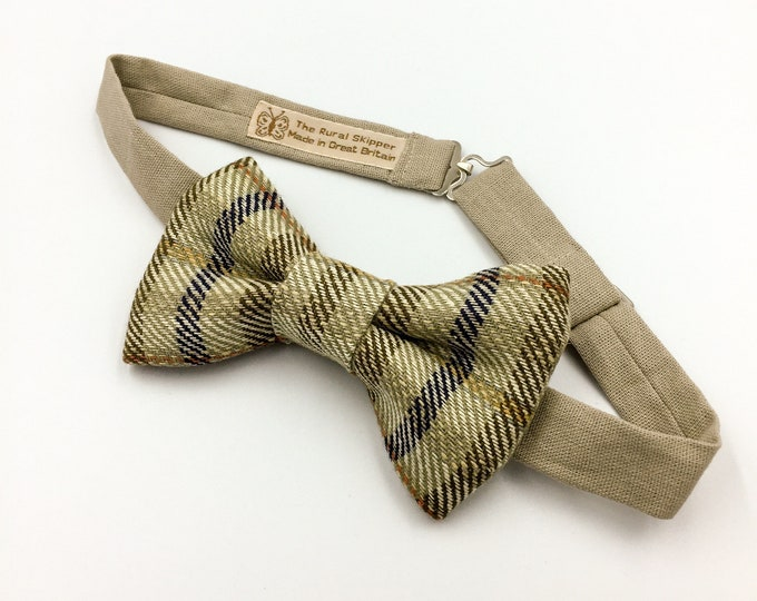 TWEED BOW TIE, men's green plaid design bow tie, silk and linen tweed bow tie.