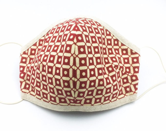 Washable Cotton Face Mask, Geometric Print Face Mask.