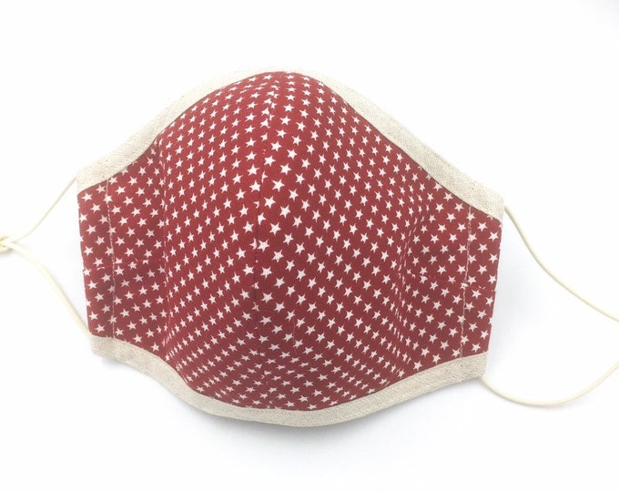 Red Cotton Face Mask, Washable Face Mask, Dust Shield, Star Print Cotton Mask.