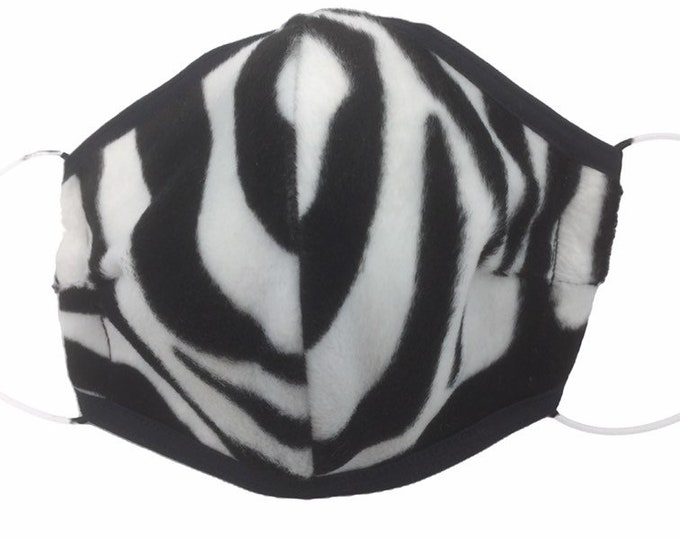 Zebra animal print faux fur face mask, zebra animal print face shield.