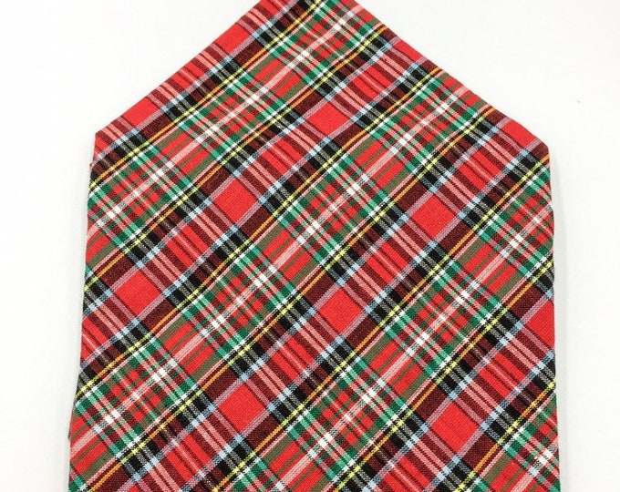 Royal Stewart hunting tartan pocket square, Stewart tartan pocket square, red tartan hankerchief.