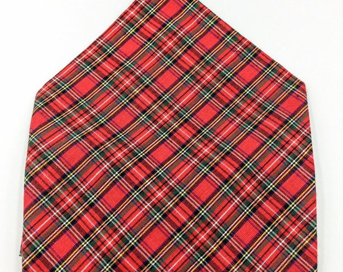 Royal Stewart tartan pocket square, red tartan pocket square, Royal Stewart hankerchief.