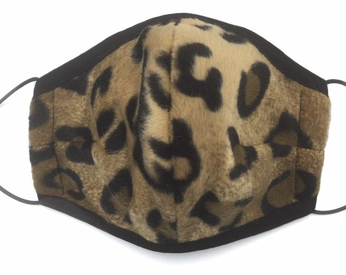 Leopard print faux fur face mask, animal print face mask.