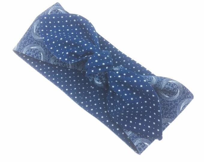 African Printed Cloth Hair Bandana, Denim Blue Reversible Hair Bandana, Neckerchief, Hair Tie.