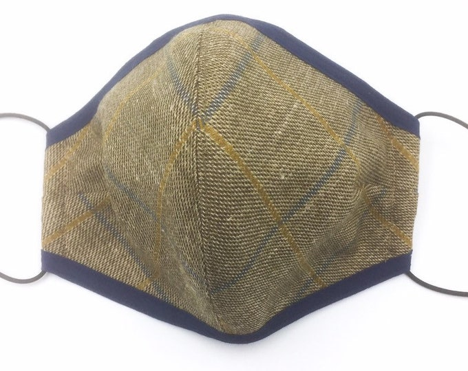 Country Plaid Face Mask, Woollen Tweed and Silk Face Mask.