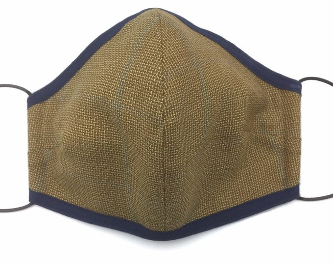Brown Silk and Wool Country Tweed Face Mask, Brown Tweed Face Shield.