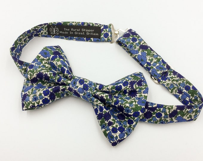Men's blue floral cotton bow tie, blue floral bow tie, wedding bow tie, blue and green bow tie.