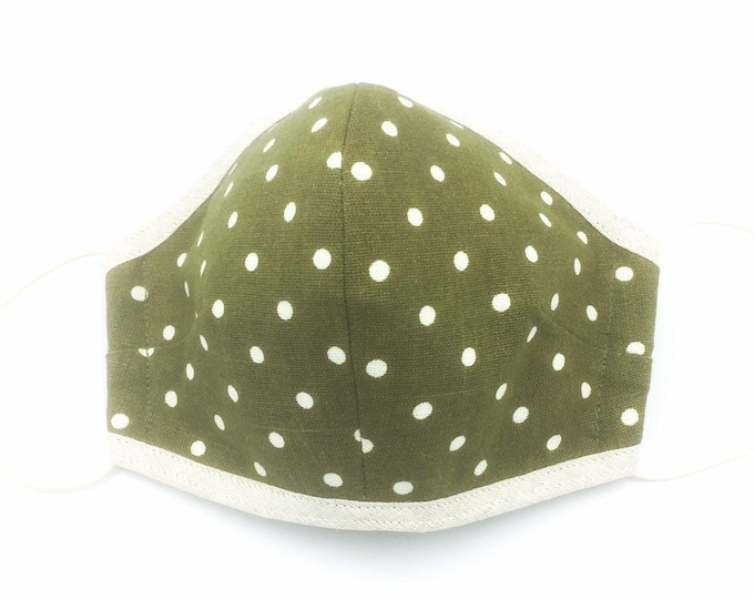 Green Spotted Cotton Face Mask, Washable Face Mask, Dust Shield.
