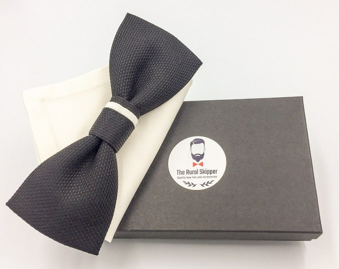 Men's black silk bow tie and ivory pure silk pocket square set, silk bow tie and pocket square, evening bow tie set.