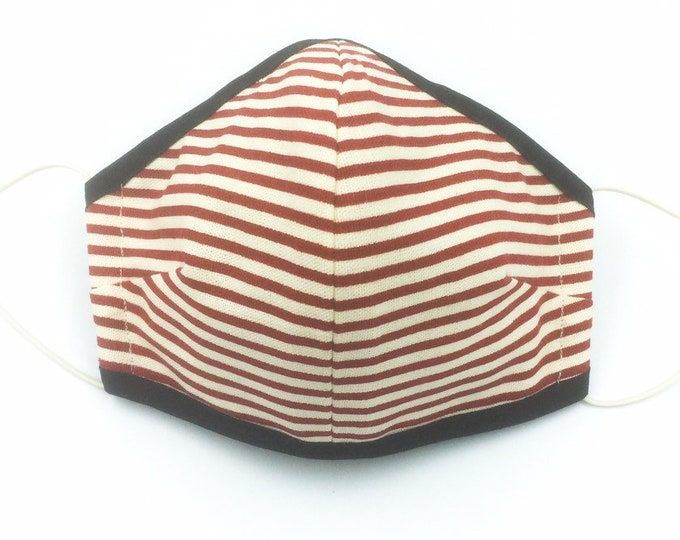 Red Striped Cotton Face Mask, Three-layered Reusable Face Mask.