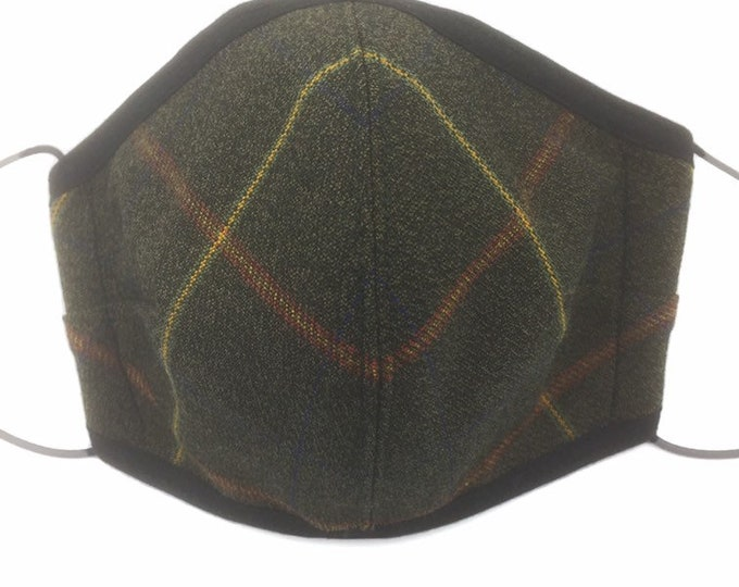 Green Plaid Cavalry Tweed Face Mask, Plaid Tweed Face Mask, Three-Layered Face Covering.