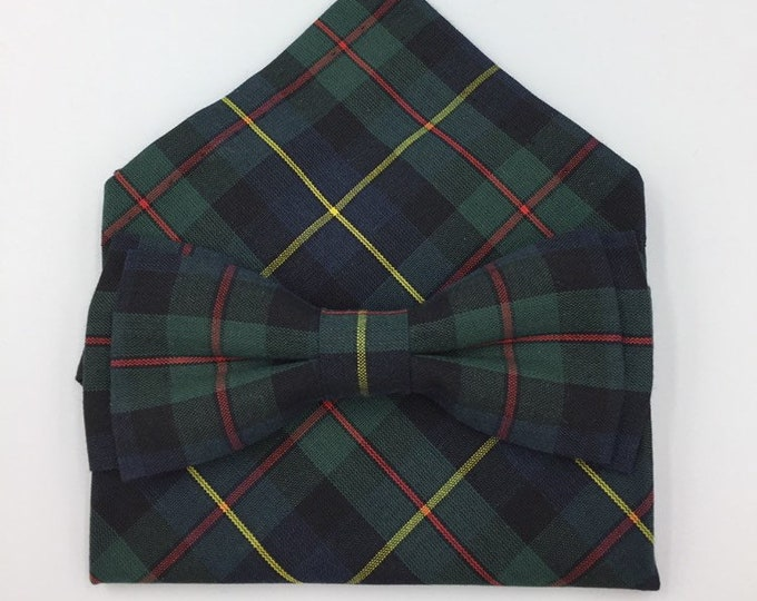 MacLeod Harris Modern Tartan bow tie and pocket square  set, tartan bow tie set,