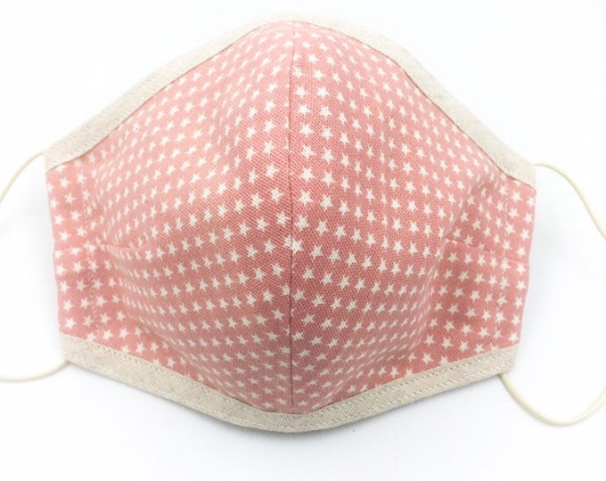 Pink Cotton Star Printed Face Mask, Three-layered Face Mask, Dust Shield, Washable Face Mask.