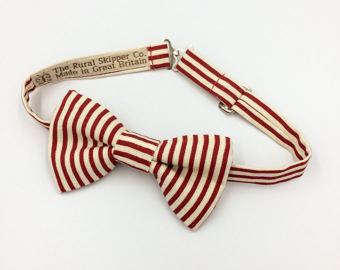 Red and cream striped bow tie, cotton striped bow tie, Henley boating bow tie.