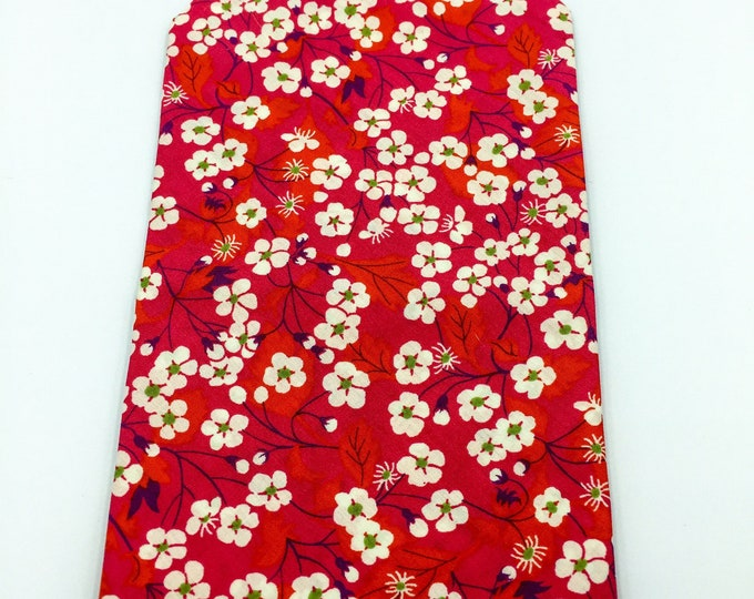 Pink floral pocket square, Liberty cotton floral print pocket Square.