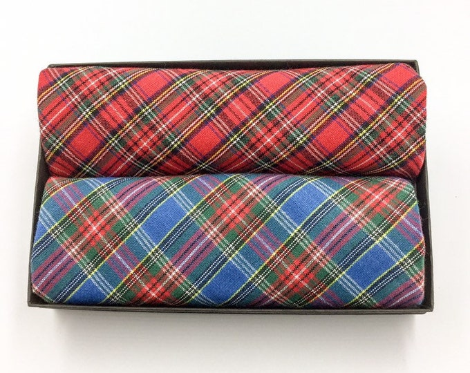Tartan pocket square set, two tartan pocket squares, Royal Stewart and Macbeth tartan hankerchiefs.