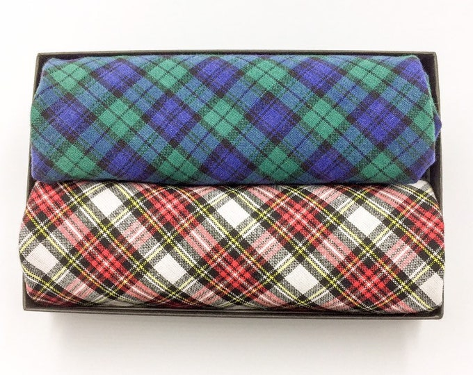 Tartan pocket square set, two tartan pocket squares, Black Watch tartan and Royal Dress Stewart tartan pocket squares.